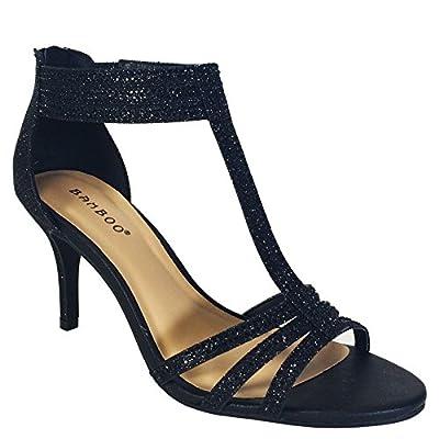 BAMBOO Women's Mid Heel T-Strap Dress Heel Sandal