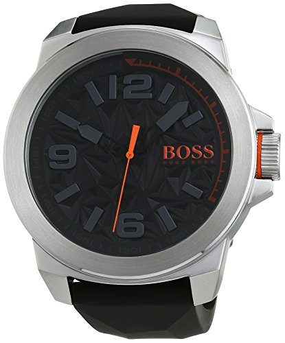 1513345 Watch Hugo boss Men's Orange Stainless steel case, Silicone strap, Patterned Black dial, Quartz movement, Scratch resistant mineral, Water resistant up to 3 ATM - 30 meters - 100 feet