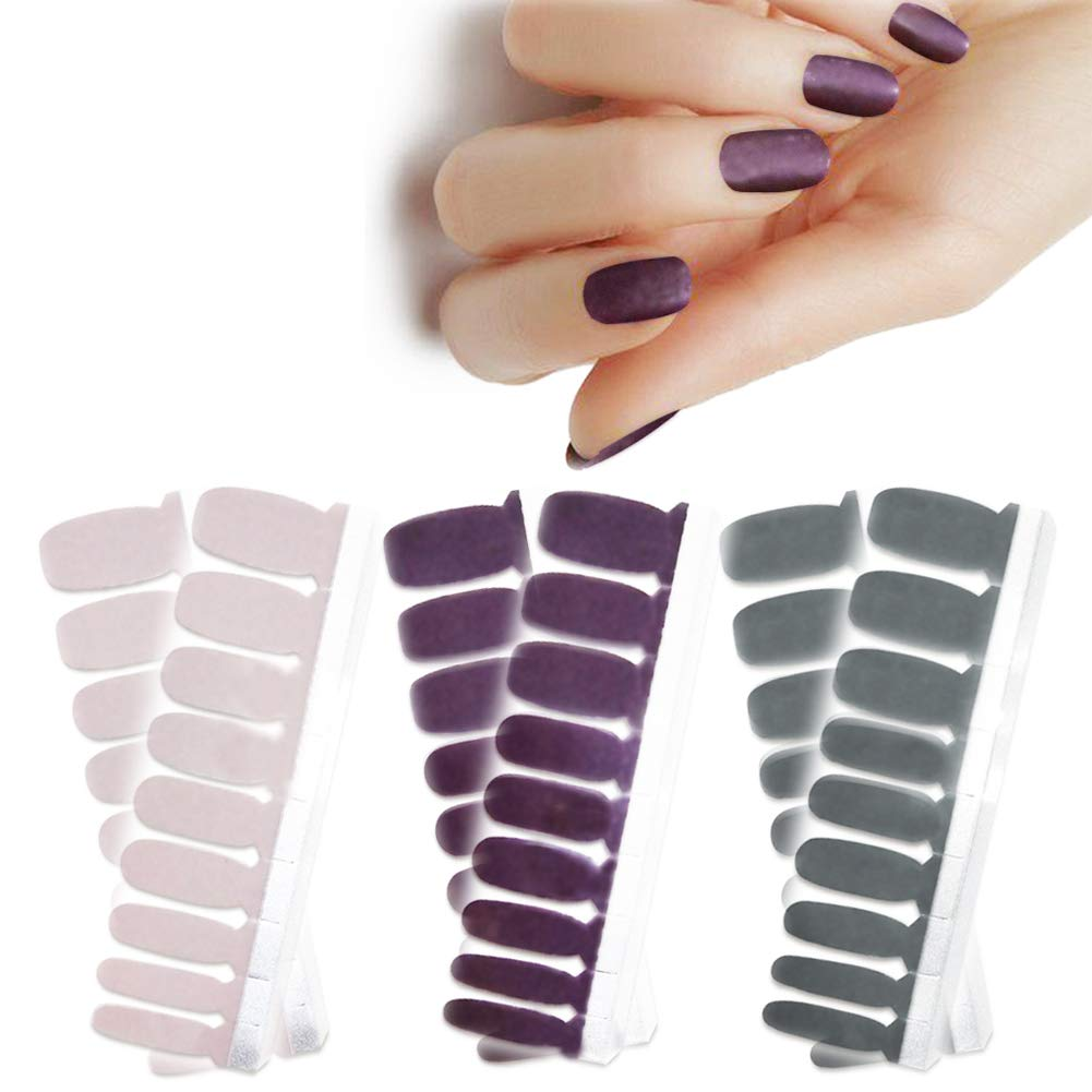 BornBeauty 3pcs Matte Nails Wraps Polish Strips with Nail File Adhesive Golden Silver Nail Art Stickers Manicure Kits for Women Girls by BornBeauty
