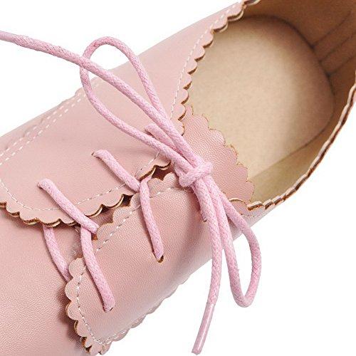 FBUIDD007019 Tacco Medio Donna Allacciare Flats AllhqFashion Ballet Rosa Luccichio Puro q1w7vS