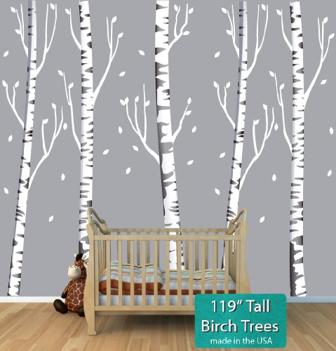 Giant Gray Birch Tree Decal with 5 Trees 119'' Tall by Nursery Decals and More