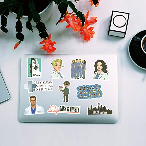 Grey\'s Anatomy Stickers, 50 Pcs Vinyls Waterproof Sticker of Water Bottle Hydroflasks Laptop Luggage Skateboard Decal Bicycle Snowboard Refrigerator for TV Show Fans