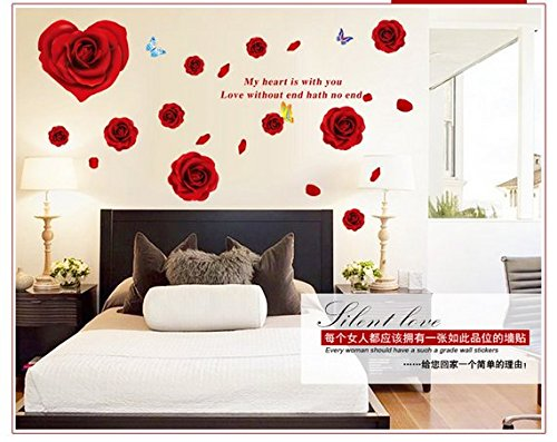 Hot Sell DIY Rose Flowers Wall Sticker, 63 x 25 Inch, Oksale® TV Background Home Decor Sitting Room PVC Removable Applique Papers Mural Decoration - Hot Picture England
