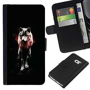 NEECELL GIFT forCITY // Billetera de cuero Caso Cubierta de protección Carcasa / Leather Wallet Case for Samsung Galaxy S6 EDGE // OSCURO WOLF GLOW
