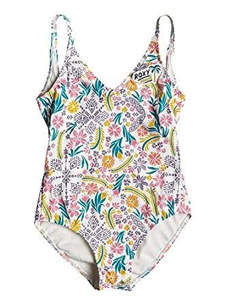 Roxy Big Girls' California Diary One Piece Swimsuit, Marshmallow Flower Power, 7
