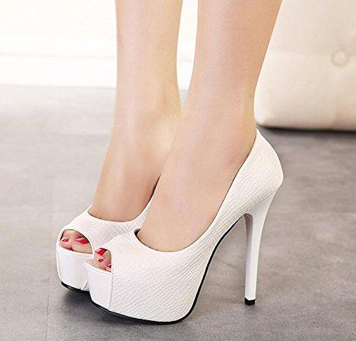 Chfso Donna Sexy Stiletto Solido Peep Toe Slip On Top Pompe A Tacco Alto In Plateau Bianco