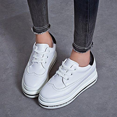 y caminan Zapatos manera de LvYuan de 4 cuero la talón libre que deporte de al plano las carrera zapatillas comodidad de flatform blancos patente zapatos aire ocasional de mujeres la oficina qCCOdzx