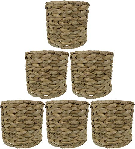 Urbanest Set of 6 Natural Woven Seagrass Chandelier Drum Lamp Shades, Clip-on, 5-inch by 5-inch by 4 3/8-inch