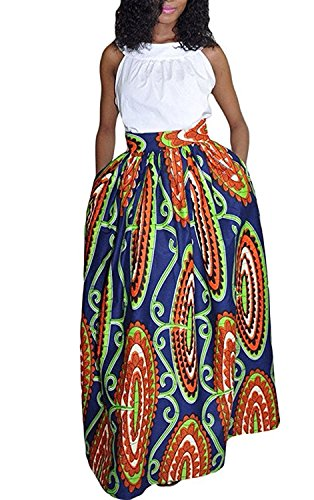 Print Clothing African - Womens African Floral Maxi Dress High Waist A Line Long Skirts with Pockets
