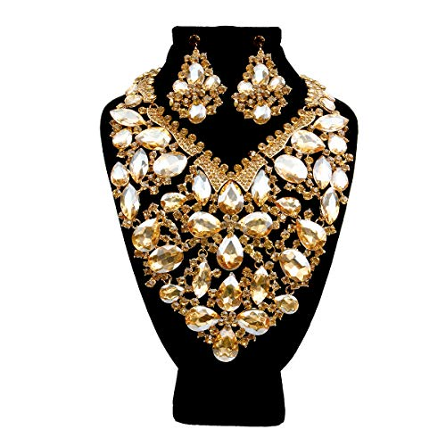 ChiqueTrendz Gold and Topaz Crystal Rhinestone Bib Necklace Sets Featuring Teardrop Crystal Detail (Drop Bib Necklace)