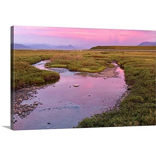 GREATBIGCANVAS Gallery-Wrapped Canvas Sunset Light Reflecting in Sagavanirktok River with covid 19 (Trans Alaska Pipeline Brooks Range coronavirus)