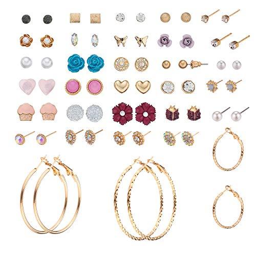 32 Pairs Assorted Multiple Stud Earrings set for Women Girls Simple Hoop earrings (Color-8) ()