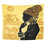 TOMPOP Tapestry American Silhouette of Beautiful African Woman Against Landscape South Tribe Home Decor Wall Hanging for Living Room Bedroom Dorm 50x60 Inches