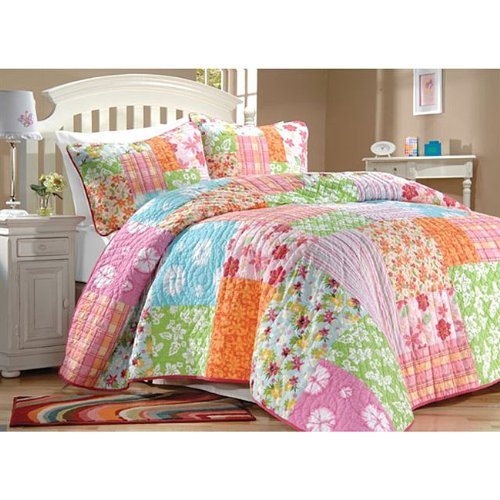 beach house bedding ideas quilt sets amazon pink green blue flowers cotton full queen shams set home kitchen