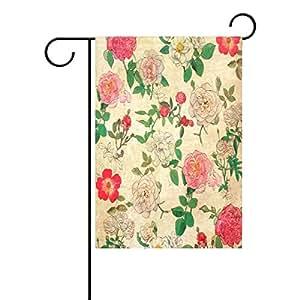 wozo Vintage Floral Impresión Flores poliéster bandera al aire libre de bandera de Jardín Casa Fiesta
