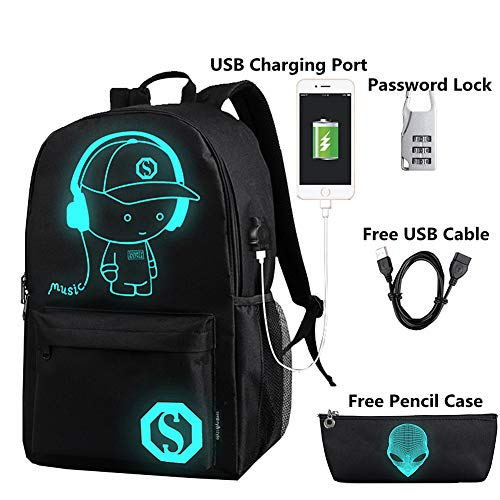 FLYMEI Anime Cartoon Luminous Backpack with USB Charging Port and Anti-theft Lock & Pencil Case, Unisex Fashion College School Bookbag Daypack Travel Laptop Backpack, Black ()