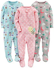 Fun patterns promote whimsical dreams in this three-pair pajama set with cozy footed cuffs