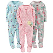 Simple Joys by Carter's Baby Girls' 3-Pack Snug-Fit Footed Cotton Pajamas, Ballerina/Moon/Bee, 6-9 Months