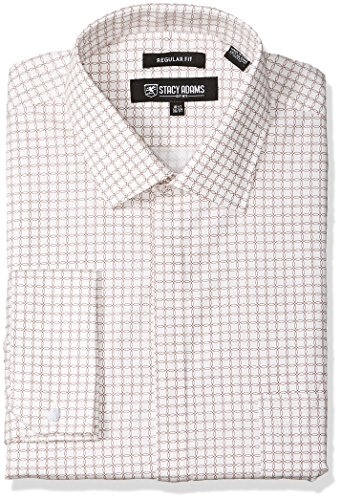(STACY ADAMS Men's Big and Tall Linked Circles Classic FIT Dress Shirt, White 18
