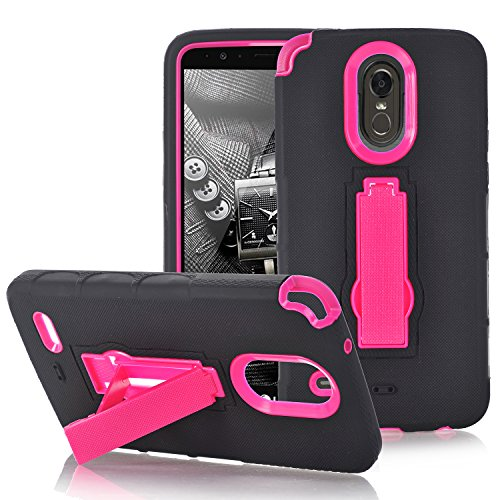 Stylo 3 Case,Stylus 3 Case 3IN1 SUPZY [NEW] [anti slip] Shockproof Hybrid High Impact Hard Plastic + Soft Silicon Rubber Armor best cases for LG Stylo 3 - (ROSE) - Kickstand Rubber