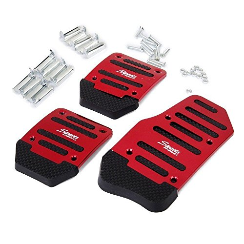 Brake Pedal Manual (AUTOPDR Car Brake Foot Pedal Covers Gas Pedals Pads Covers Foot Brake Extenders Cover Pad Automotive Kick Panels for Manual Car Auto Vehicle Motorcycle Aluminium (Red-Manual))