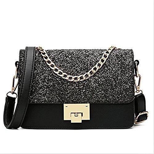 Shoulder Beaded Leather Bag (Evening Bags for Women Crossbody Bag Chain Shoulder Evening Clutch Black Purse Formal Bag (Black))