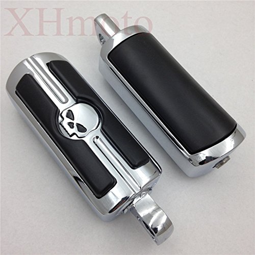 HTTMT MT216-051- Chrome Skull Foot Pegs Footrest Kit Compatible with Harley Dyna Glide Fat Bob Street Bob