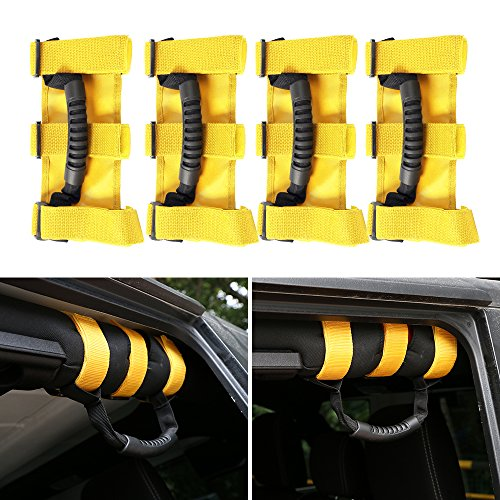 Price comparison product image JeCar 4 x Grab Handles Grip Handle Roll Bar Grab Handles For Jeep Wrangler YJ TJ JK JKU Sports Sahara Freedom Unlimited Rubicon 1987-2017(YELLOw)