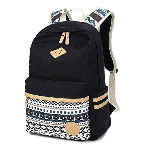 Fresion Unisex Canvas Student Backpack Lightweight Simple Casual Daypack Multi compartment Rucksack for School College Hiking Gyming Travel Weekend (Black)