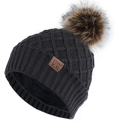 Vmevo Women's Warm Faux Fur Pom Pom Beanie Hat Soft Cable Knit Winter Fleece Lined Skull Cap Cuff Beanie