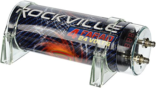 Audio Car Capacitor (Rockville RXC4D 4 Farad Digital Car Capacitor Blue LED Voltage Display Power Cap)
