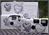 5 Pack Antique Silver Hearts Wedding Disposable 35mm Cameras in Gift Boxes with Matching Tents 27 Exp.