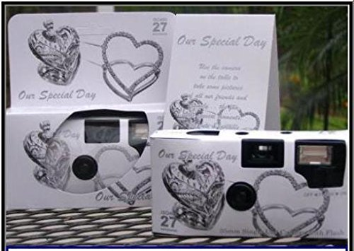 5 Pack Antique Silver Hearts Wedding Disposable 35mm Cameras in Gift Boxes with Matching Tents 27 Exp. by The Camera Depot