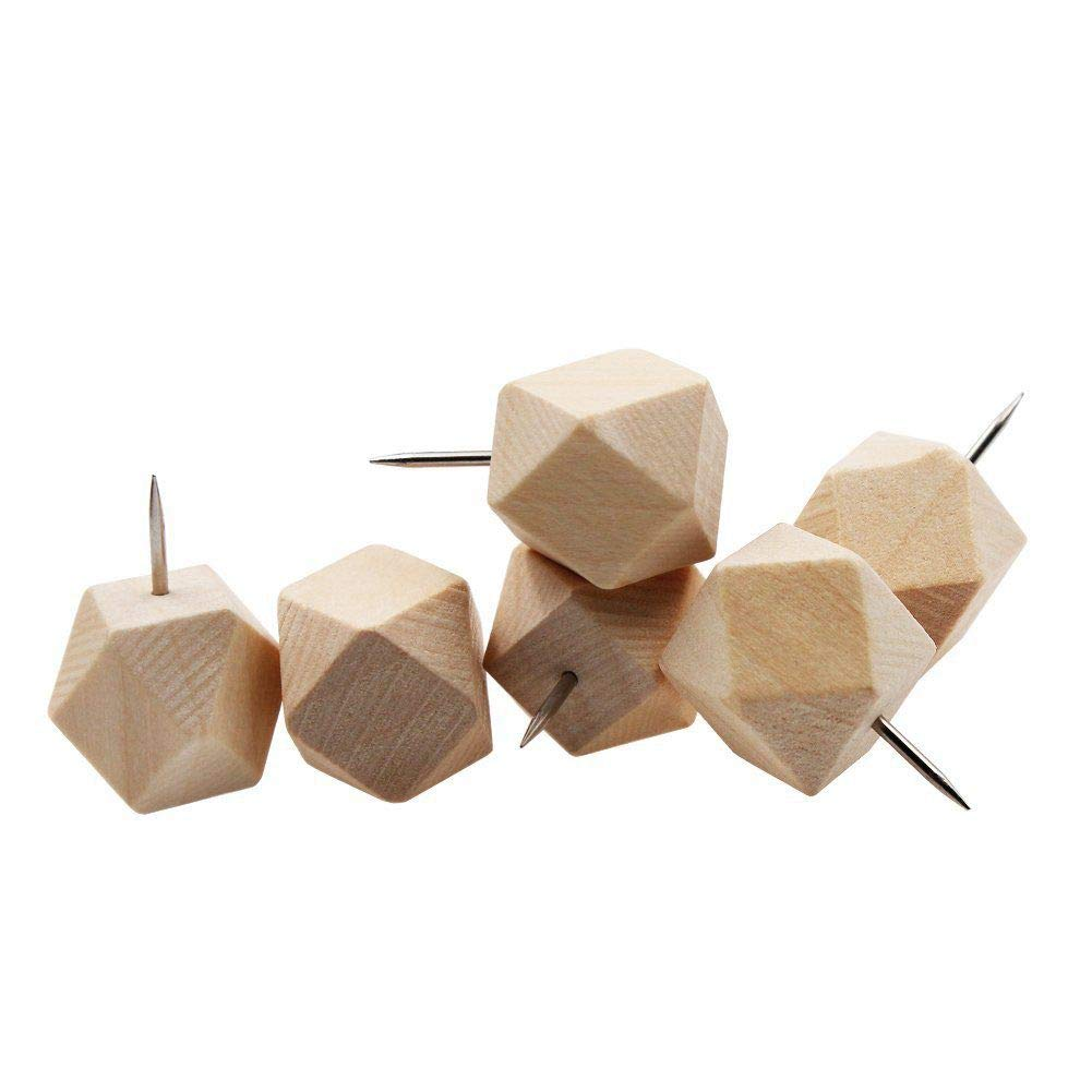 SaveStore 18pcs Geometric Wood Decorative Push Pins, Wood Head and Steel Needle Point Thumb Tacks for Photos, Maps and Cork Boards