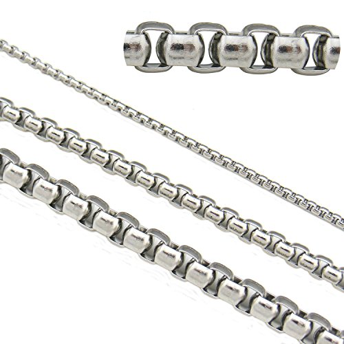 - 6.6ft 5mm Width Stainless Steel Square Shaped Long Chains Findings Fit for Jewelry Making &DIY (SC-1019-E)