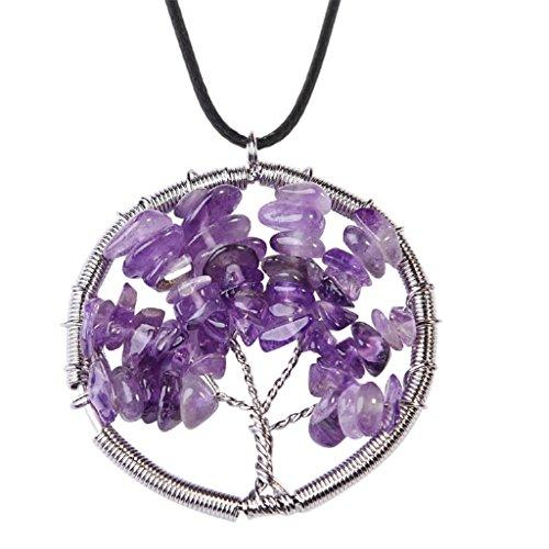 Hambone Costume (Natural Amethyst Tree Of Life Pendant Necklace Handmade Necklace)