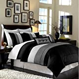 Chezmoi Collection 104 x 92-Inch 8-Piece Luxury Stripe Comforter Bed-in-a-Bag Set, California King, Black/White/Grey