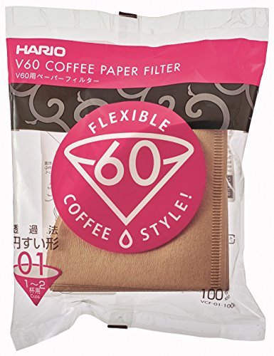 Cone Filter Paper Natural - Hario V60 Paper Coffee Filters, Size 01, 100 Count, Natural