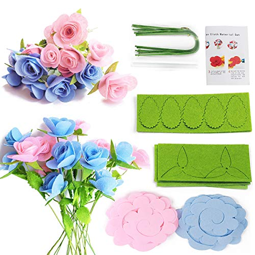 Minty Art Felt Flowers Fabric Flower Kits Flower Making Kit,Flower DIY Craft Kit,Flower Crafts,a Bouquet of Roses for Birthday Gifts,Bouquet Craft,Fakes Flowers,(Make 20 -