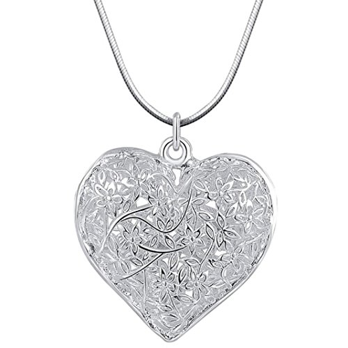 Women Girls Silver Plated Carved Heart Hollow Pendant Necklace Cuekondy Fashion Elegant Retro Charm Statement Jewelry