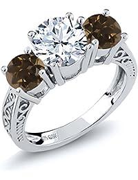 2.32 Ct Round White Topaz Brown Smoky Quartz 925 Sterling Silver 3-Stone Ring