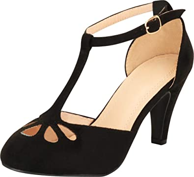 8f524a49ba Cambridge Select Women's Teardrop Cutout T- Strap Mary Jane Dress Pump,5.5  B(