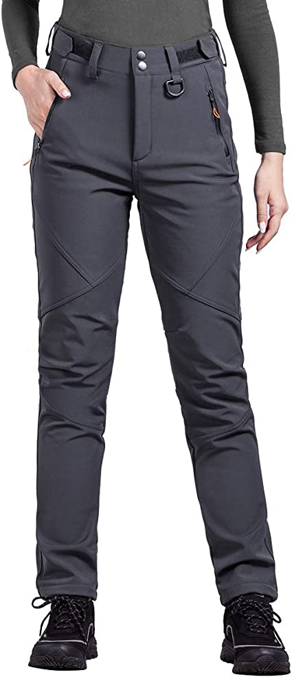 FREE SOLDIER Outdoor Womens Soft Shell Fleece Lined Ski Pants Winter Lightweight Hiking Cargo Nylon Pants with Multi-Pockets