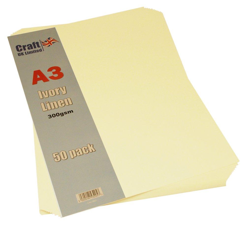 Craft - 2027 A3 300 G tarjeta de lino de marfil (Pack de 50 hojas ...