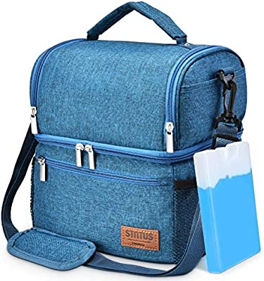 HOMESPON Insulated Lunch Bag Cool Bag for Lunch Boxes Striated Waterproof Fabric Foldable Picnic Handbag for Women Students Champagne Adults