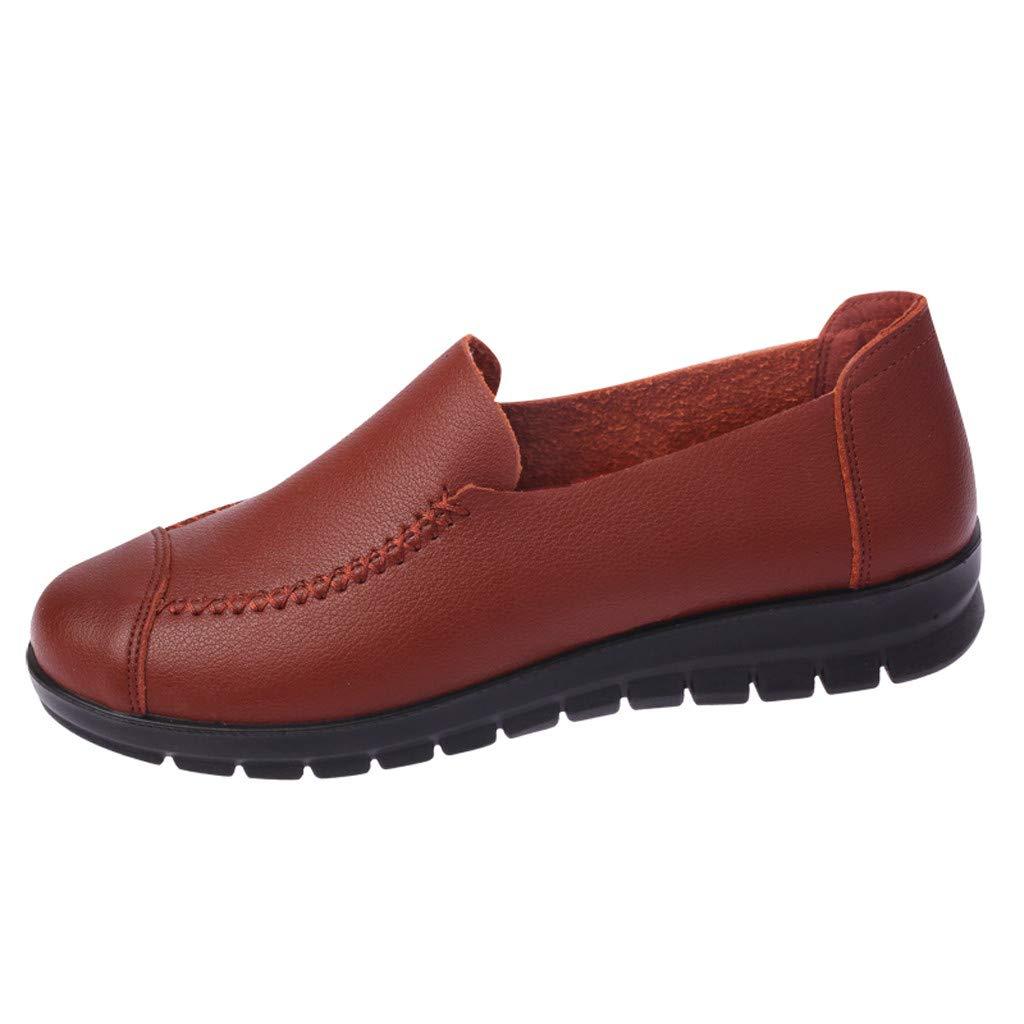 Darringls_Zapatos para Mujer,Zapatillas Ocio de Mediana Edad Dama Antideslizante Zapatos Planos Redondos del Dedo del pie Zapatos Solos Inferiores Suaves: ...