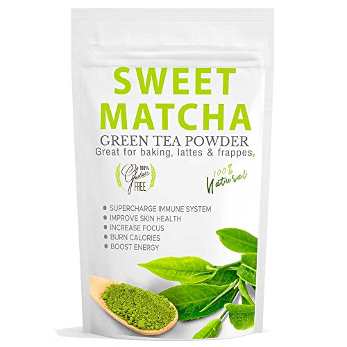 Sweet Matcha Green Tea Powder (16oz) Green Tea Powder Mix- Made with 100% Organic Matcha - Perfect for Making Green Tea Latte or Frappe - Great Energy Boost Mild Sweet Tea