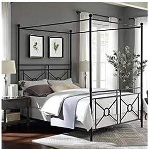 Crosley Furniture Montgomery Metal Canopy Bed, Queen, Black