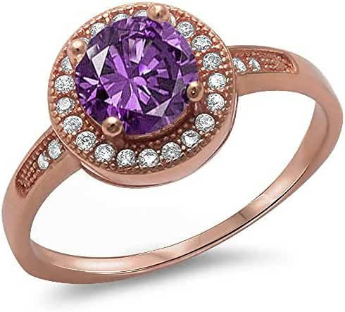 Halo Style Simulated Amethyst & Cubic Zirconia .925 Sterling Silver Ring Sizes 4-10