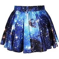Women Big Girls 3D Digital Pleated High Waisted Skirt Starry Sky A-Line Mini Dress Galaxy Stretch Skater Flared Swing Skirts